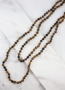 Long Stone Bead Wrap Necklace in Three Color Options