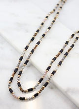Load image into Gallery viewer, Long Glass And Wood Bead Necklace in Black