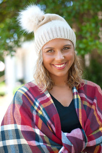 Pom Pom Beanie In Tan, Navy and Black