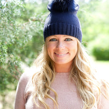 Load image into Gallery viewer, Pom Pom Beanie In Tan, Navy and Black