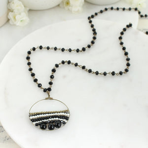 "32"" Black Crystal & Pearl Necklace"