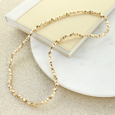 "24"" Gold Bead Stretch Necklace"