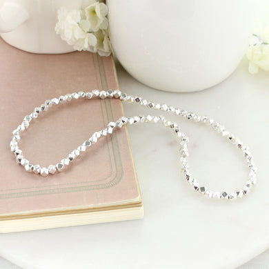 "18"" Silver Bead Stretch Necklace"