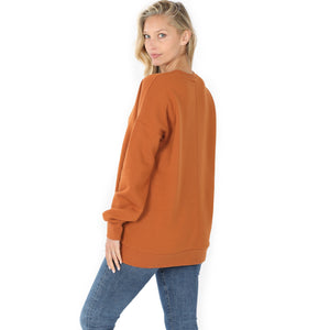Long Sleeve Ladies Sweatshirt With Side Pockets In Almond
