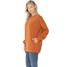 Load image into Gallery viewer, Long Sleeve Ladies Sweatshirt With Side Pockets In Almond
