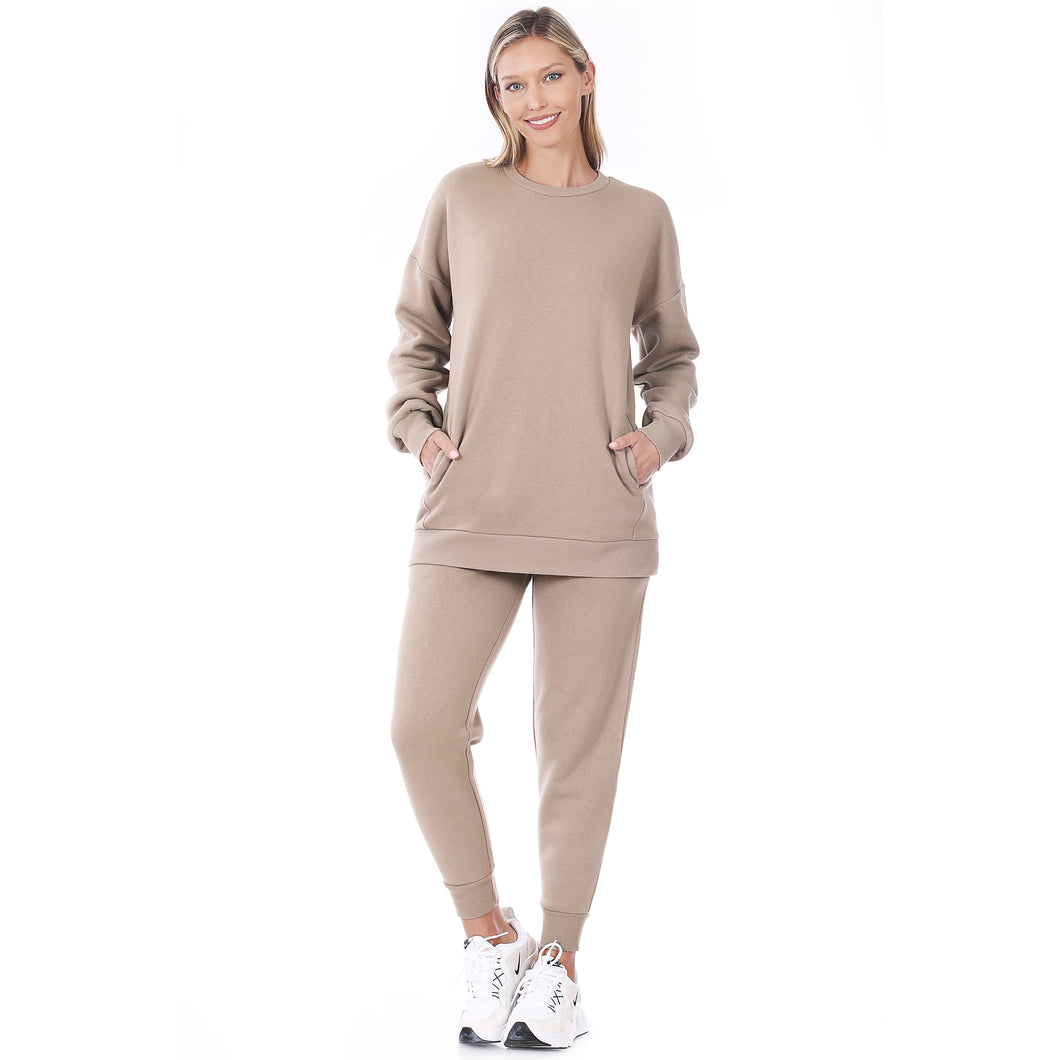 Ladies Sweatshirt and Sweatpants Set in Ash Mocha