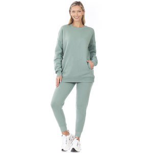 Ladies Sweatshirt and Sweatpants Set in Light Blue/Green