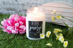 Farmhouse Collection Mason Jar Candle 13oz - Pink Peony