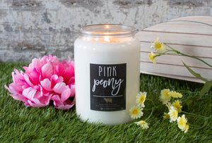 26oz Pink Peony Apothecary Farmhouse Jar Candle