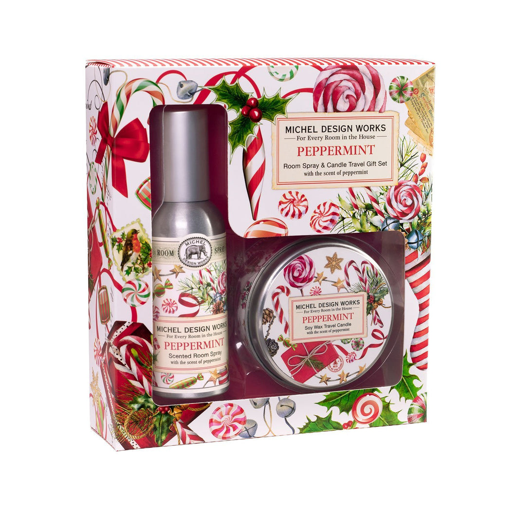 Peppermint Room Spray and Travel Candle Set