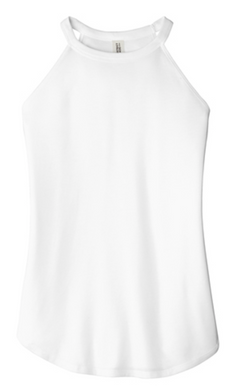 Ladies High Neck Tank In White