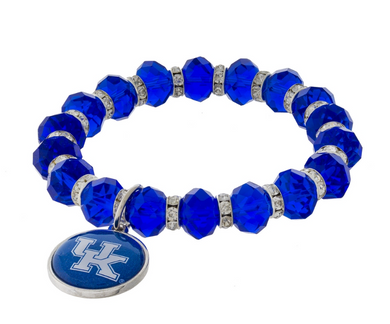 University of Kentucky Stretch Bracelet With Clear Rhinestone Accents And A Logo Charm