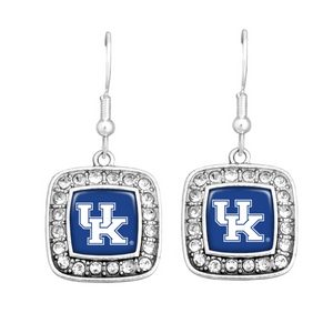 University Of Kentucky UK Silver Tone Square Shaped Earrings Surrounded By Crystal Rhinestones