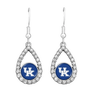 Kentucky Teardrop Earrings With Crystal Rhinestones Surrounding The Logo