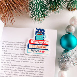 Cozy Books, Hot Cocoa, Snowy Days Magnetic Bookmark