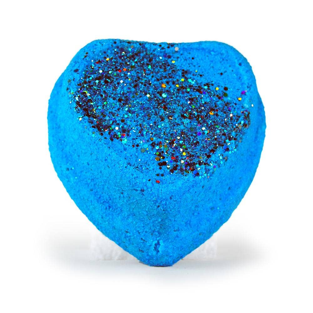 Large Surprise Bath Bomb Light Up Glitter Blue Slushy Heart