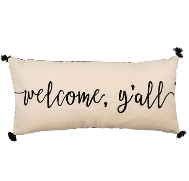 Welcome Y'all Embroidered Pillow