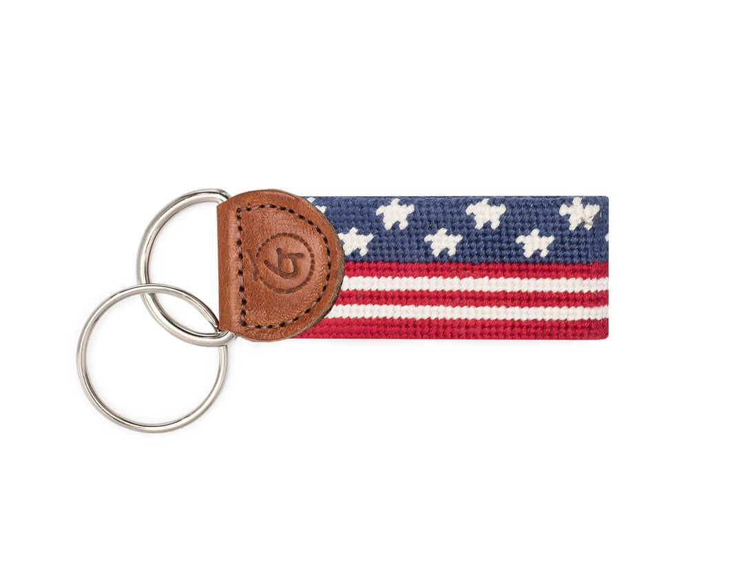 Stars and Stripes Needlepoint Keychain