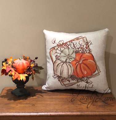 Thankful Trio Pumpkin and Cotton Fall Pillow