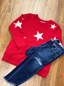 Star Sweatshirt With Side Pockets in Red and Ivory
