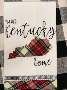 My Old Kentucky Home Applique and Embroidered Tea Towel