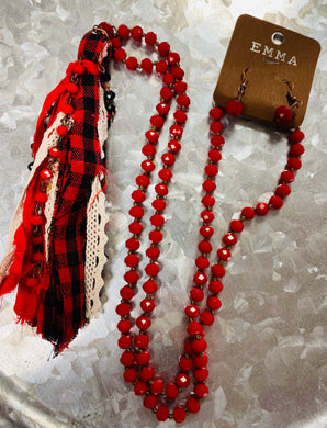 Red And Black Buffalo Plaid Tassel Necklace With Matching Earrings