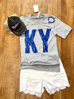 KY Distressed Bella Unisex Tee In Gray