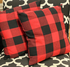 Red & Black Buffalo Plaid Pillow