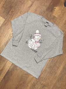 Baby it's cold outside Snowman YOUTH Long Sleeve Tee