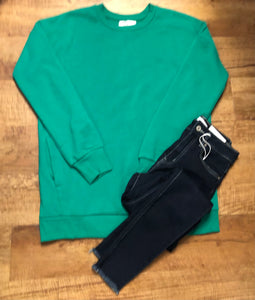 Long Sleeve Ladies Sweatshirt With Side Pockets In Kelly Green