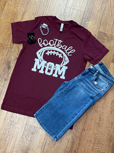 Football Mom Unisex Bella Maroon Tee