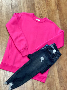 Long Sleeve Ladies Sweatshirt With Side Pockets In Fuschia