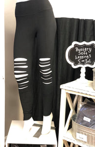 Buttery Soft Full Length Wide Waist Band With Laser Cut Leggings In Black