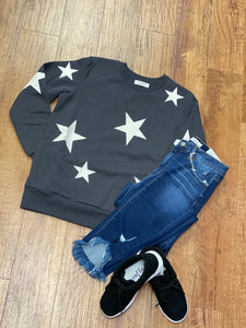 Star Sweatshirt With Side Pockets in Charcoal Gray