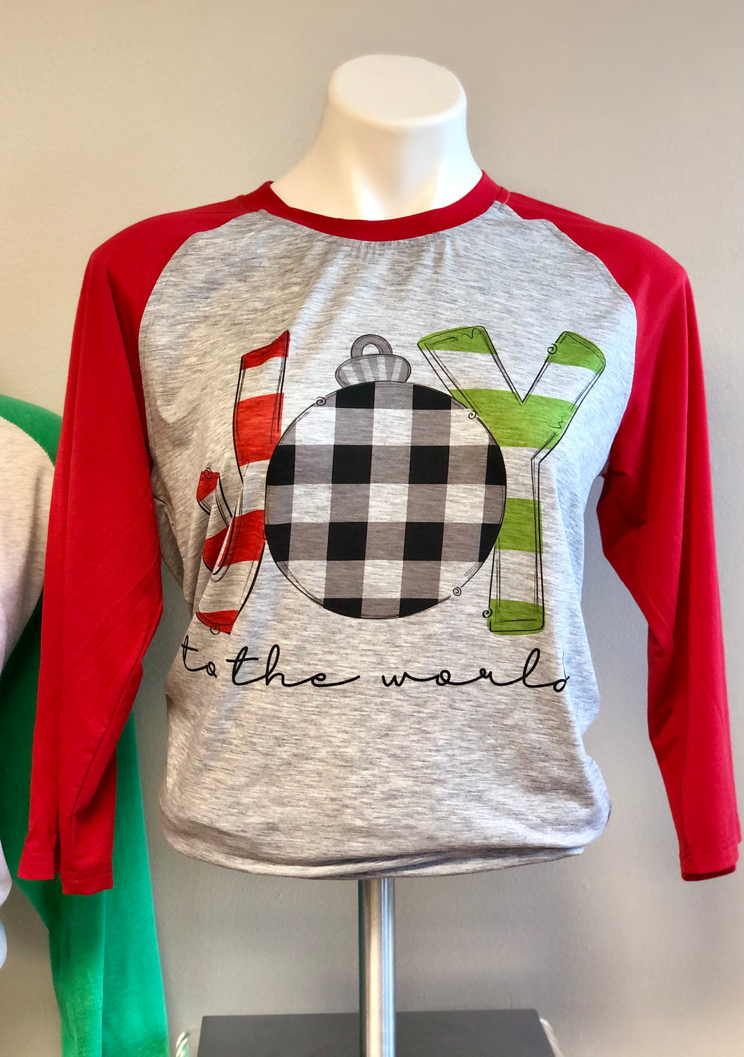 Joy Christmas Unisex Raglan With Red or Black Sleeves