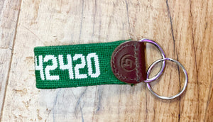 42420 Zip Code Needlepoint Keychain In Several Colors
