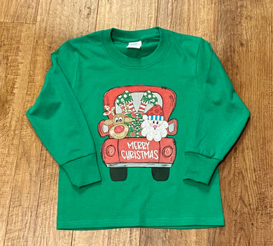 Christmas Truck (santa, elf, reindeer) YOUTH Long Sleeve Tee