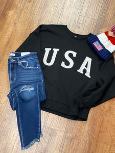 USA Ladies Relaxed Fit Sweatshirt in Black and Ivory