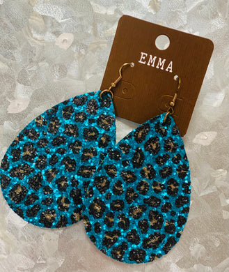 Turquoise Glitter Animal Print Teardrop Earrings