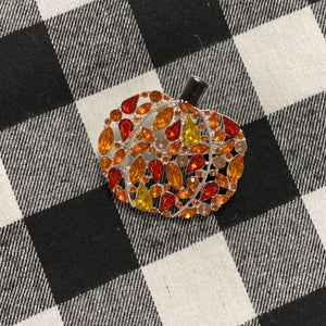 Jeweled Pumpkin Pin or Pendant