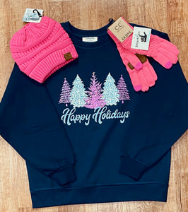 Happy Holidays Pink Trees Ladies Sweatshirt In Navy