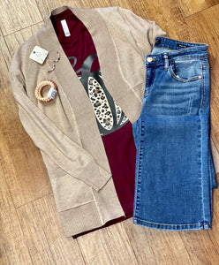 Short Open Cardigan in Khaki
