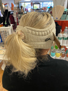 C.C Beanie Dark Brown Solid Color Ribbed Knit Ponytail Headband