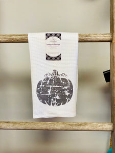 Distressed Black Pumpkin Tea Towel