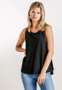 Ladies Round Neck Ribbed Tank Top In Black or White