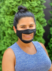Adult Clear Front Mask-Black
