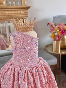 Robe sequin rose pâle