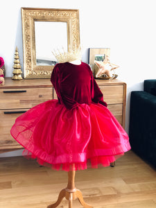 Robe rouge velours et organza