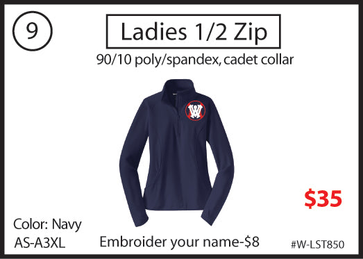 9 - Ladies 1/2 Zip