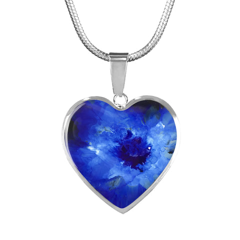 Personalized Luxury Heart Pendant with Original Artwork - Blue - Adjustable